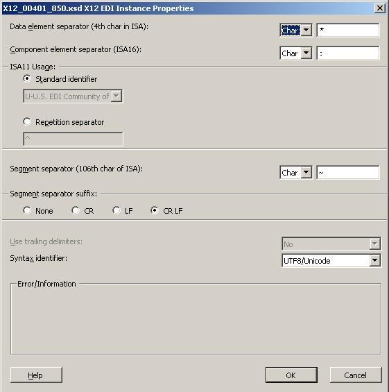 X12 Delimiter DialogBox